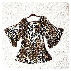 2/$15, Bell Sleeve Leopard Print Blouse